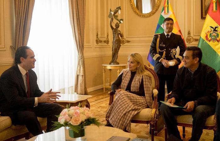 La presidenta Añez recibió la visita de Mauricio Claver-Carone. Foto: ABI