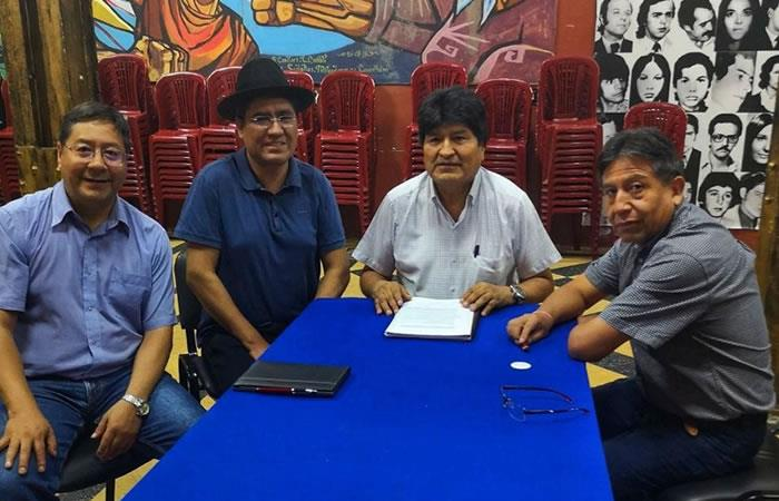 Luis Arce Catacora, Diego Pary Rodríguez, Evo Morales y David Choquehuanca. Foto: Twitter oficial @Evoespueblo