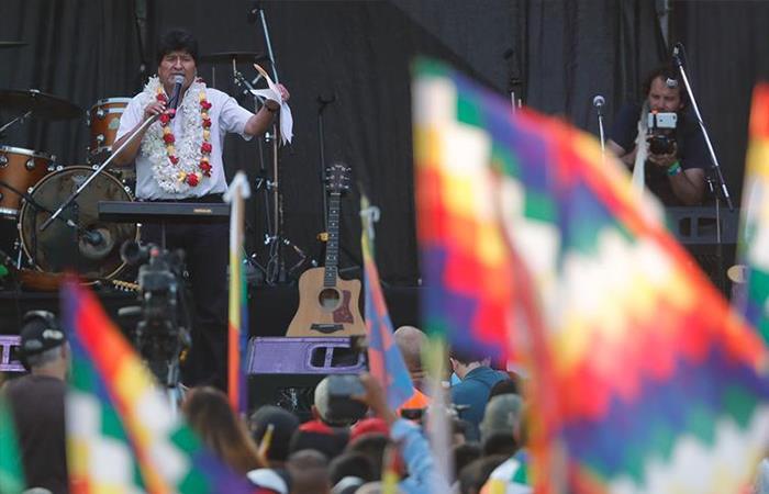 Discurso de Morales desde Argentina. Foto: EFE.