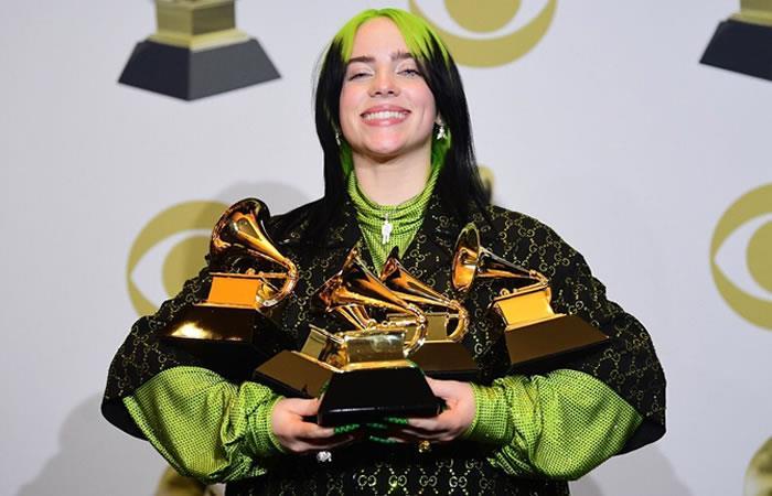 Billie Eilish fue la gran ganadora en la noche de los Grammy 2020. Foto: Twitter @OcesaColombia