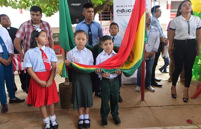 Inauguración del Año Escolar 2020 en Rurrenabaque, Beni. Foto: Twitter