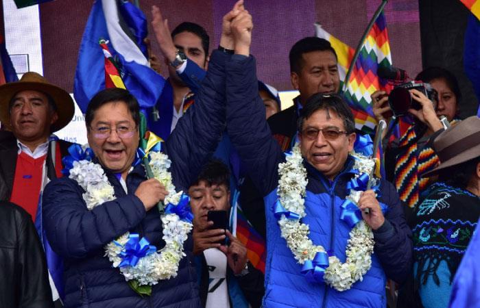 Arce proclamó su candidatura desde El Alto. Foto: EFE