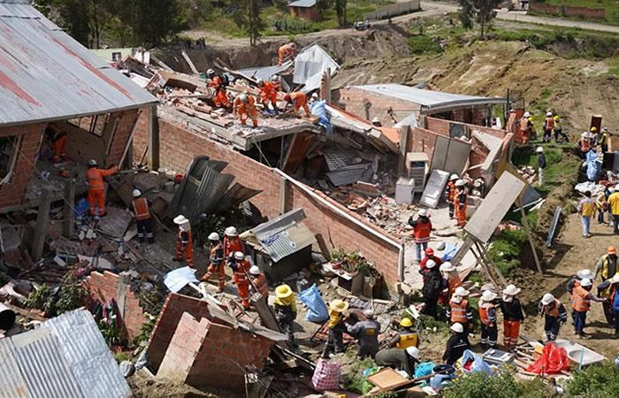 Casas afectadas en el deslizamiento del barrio de Ovejuyo. Foto: EFE.
