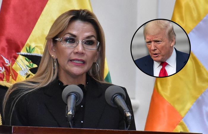 Presidenta Interina Jeanine Áñez y el presidente de Estados Unidos, Donald Trump. Foto: ABI y EFE.