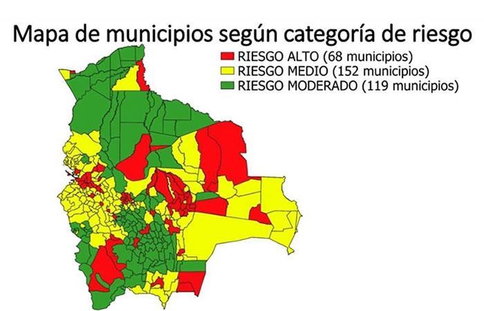 68 municipios de Bolivia se encuentran en riesgo alto, 152 están en riesgo medio y 119 en riesgo moderado. Foto: ABI