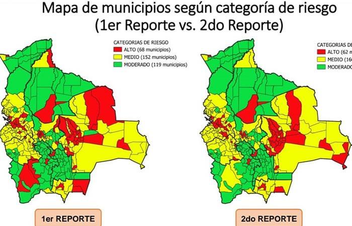 Mapa de municipios según categoría de riesgo. Foto: ABI