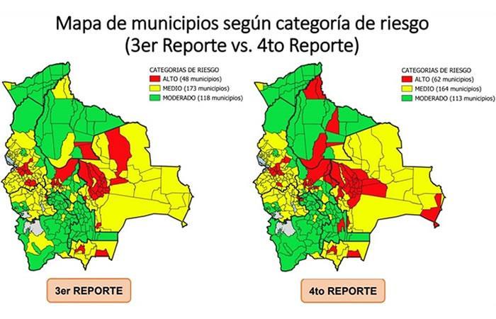Reporte de municipios en alto riesgo. Foto: ABI