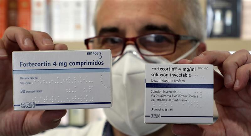 Dexametasona, un fármaco barato y de fácil acceso en todo el mundo, para tratar a pacientes críticos de COVID-19. Foto: EFE