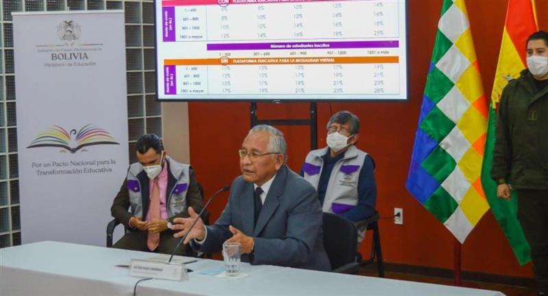 El ministro de Educación, Víctor Hugo Cárdenas, anunció el descuento en las pensiones. Foto: ABI