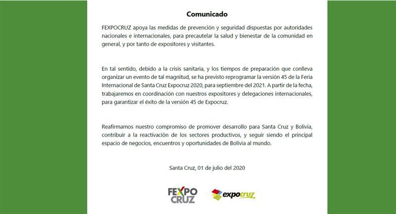 La Fexpocruz comunicó de la suspensión del evento. Foto: Fexpocruz