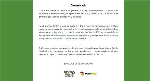 La Expocruz es suspendida para el siguiente año