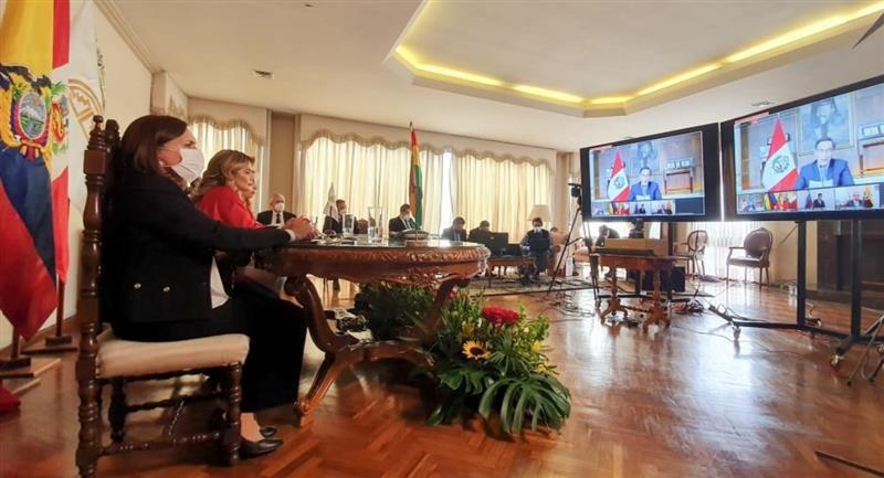 Jeanine Áñez durante la reunión virtual de la CAN. Foto: ABI