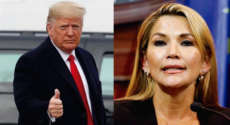 Trump envía mensaje de apoyo a Jeanine Áñez. Foto: Twitter @porquetendencia/@tomebamba