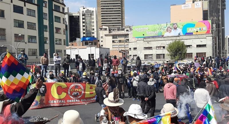 Marchas protagonizadas por la COB y el magisterio. Foto: ABI