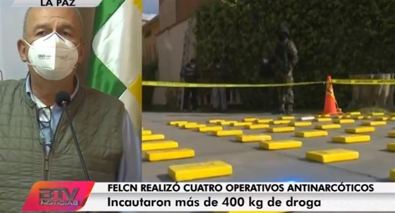 El ministro de Gobierno, Arturo Murillo, comenta sobre los operativos realizados por la FELCN. Foto: Bolivia TV
