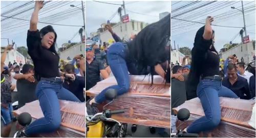 Video viral de mujer que se despidió de su esposo fallecido bailando reguetón sobre su ataúd