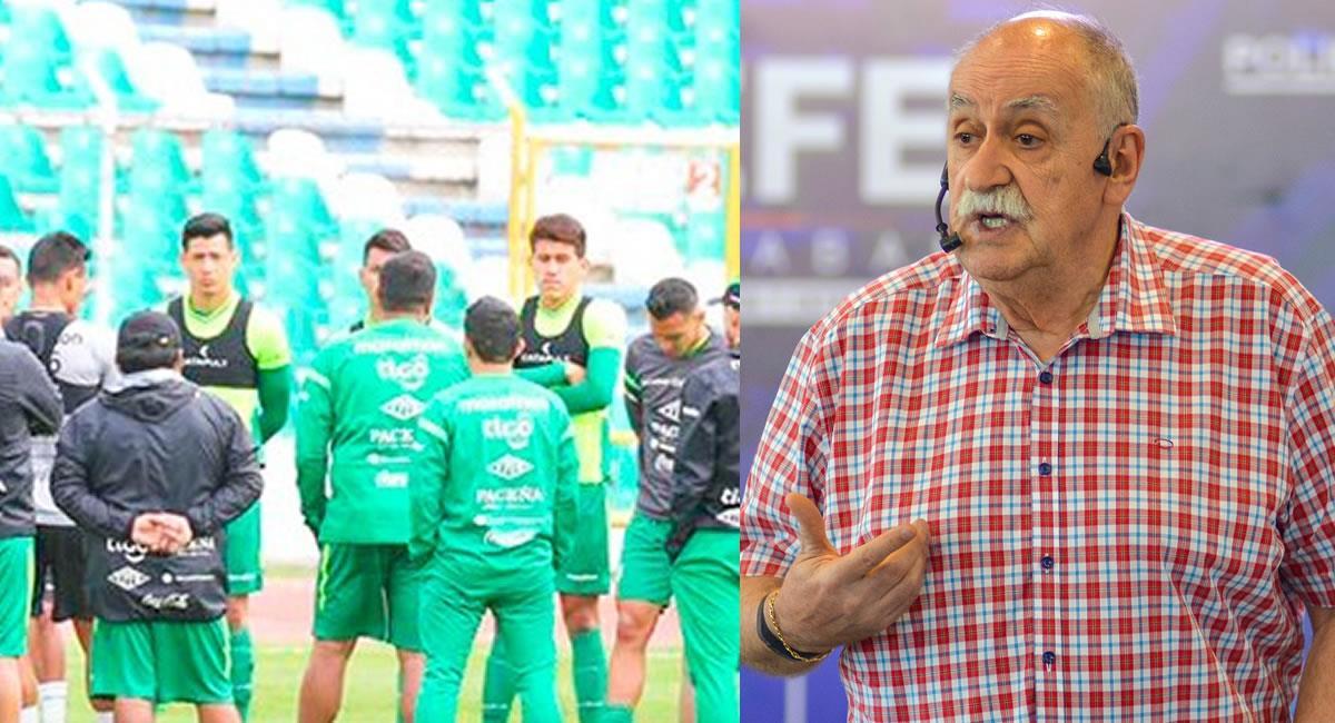 """Con el lema """"no hay excusas"""", instó a los futbolistas a dar lo mejor en las eliminatorias. Foto: Twitter @laverde_fbf y @vicedeportesbo"""