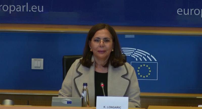 La Canciller Karen Longaric en el Parlamento Europeo. Foto: ABI