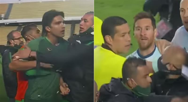Pelea entre Messi y Martins. Foto: Youtube / Captura canal Gol futbol
