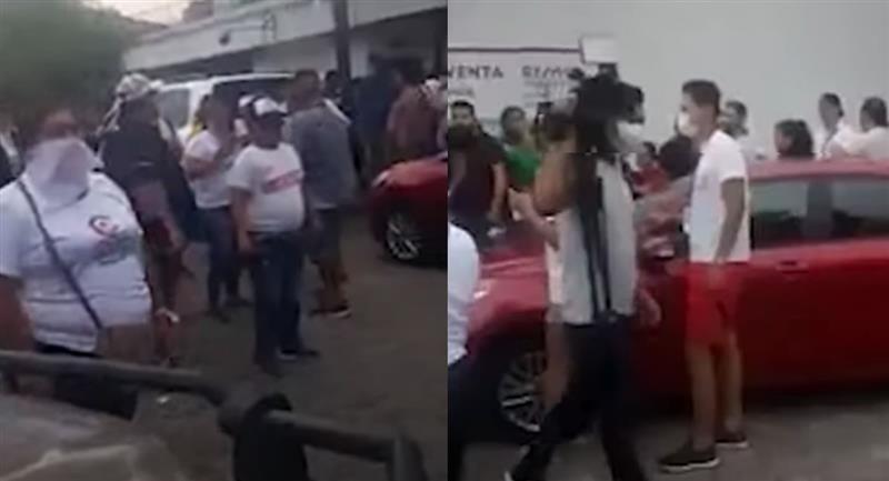 Equipo de periodistas de la red televisiva Unitel agredido verbalmente, amenazado y acosado por simpatizantes de Creemos. Foto: Youtube / Captura Cabildeo Digital