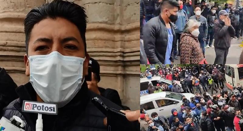 Al mediodía, Pumari se presentó en esa plaza luego de convocar a la ciudadanía para que lo insulten de forma personal. Foto: ABI y Facebook / captura El Potosí