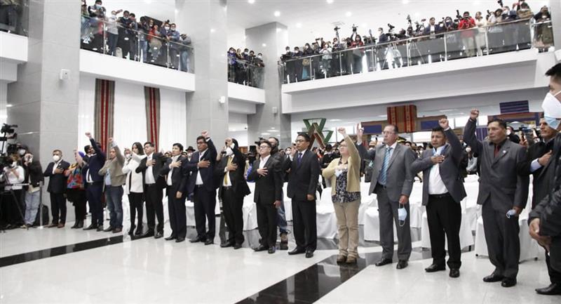 Acto de posesión del gabinete del presidente de Bolivia, Luis Arce. Foto: ABI