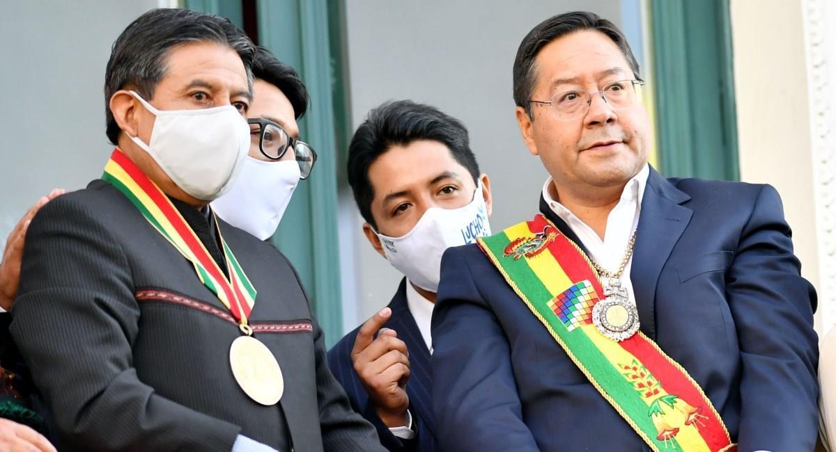 El presidente Luis Arce junto al vicepresidente David Choquehuanca. Foto: ABI