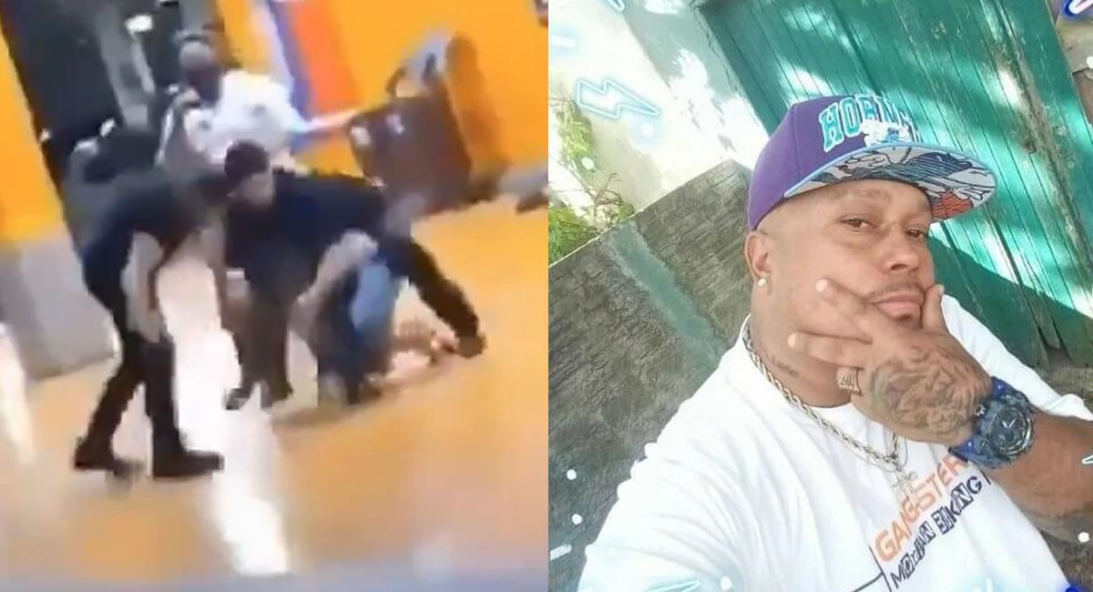"""Al parecer el hombre afrodescendiente habría perdido la vida por """"asfixia"""", además de los golpes propinados. Foto: Twitter Captura de video @ TrasLaManta / @catchfireproof"""