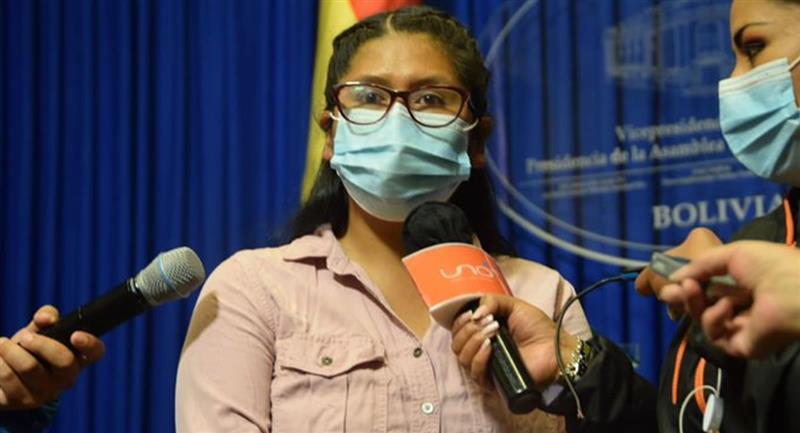 Eva Copa, candidata a la Alcaldía de El Alto, por el partido del MAS. Foto: ABI