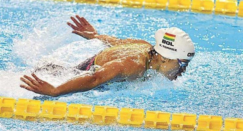 La nadadora boliviana Karen Tórrez. Foto: ABI