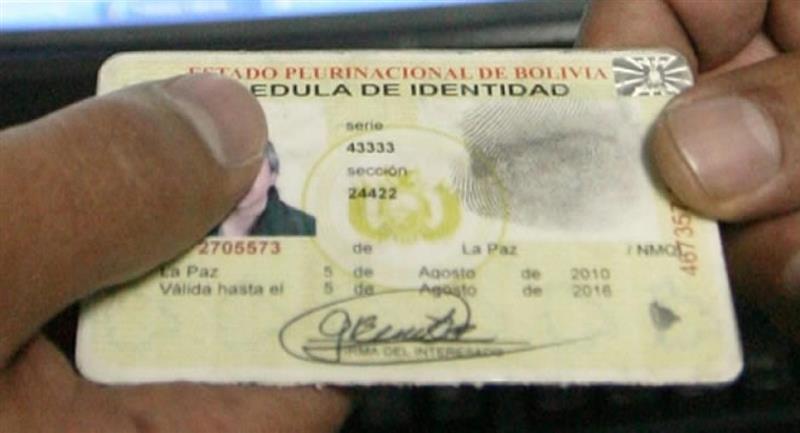 Cédula de identidad. Foto: ABI
