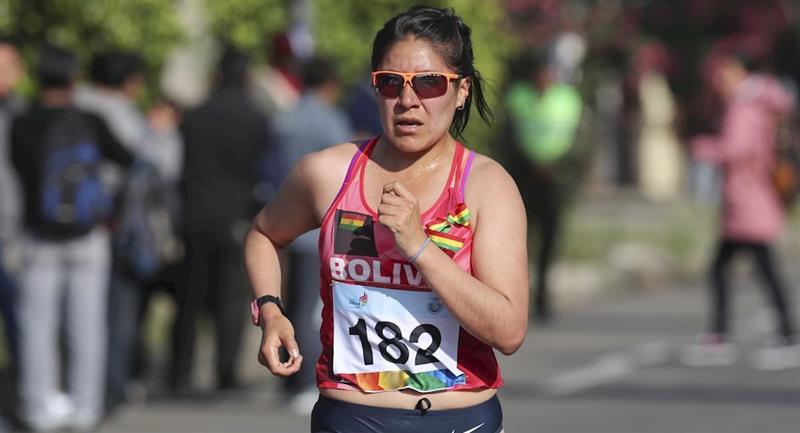 La marchista boliviana Ángela Castro. Foto: EFE