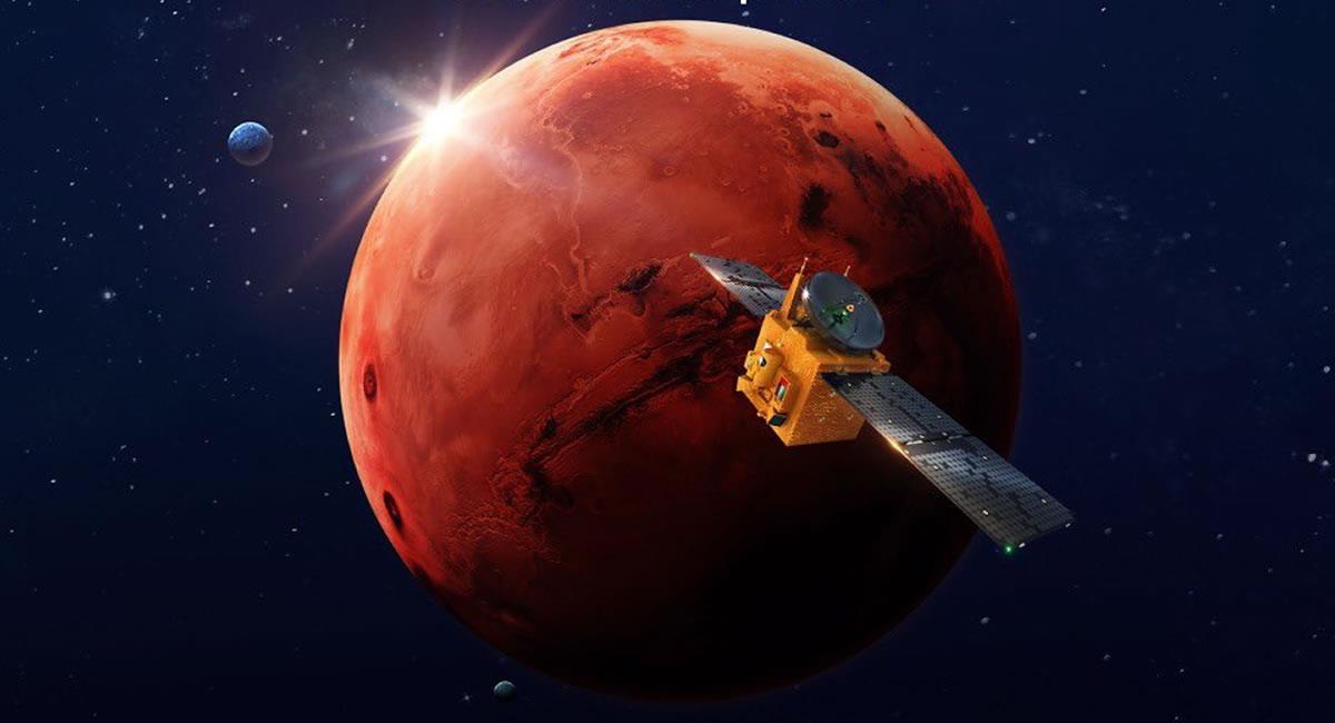 La sonda 'Hope' de Emiratos Árabes Unidos entra a la órbita de Marte. Foto: Twitter @HopeMarsMission