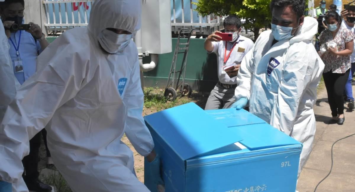 Vacunas chinas Sinopharm que llegaron a Bolivia. Foto: ABI