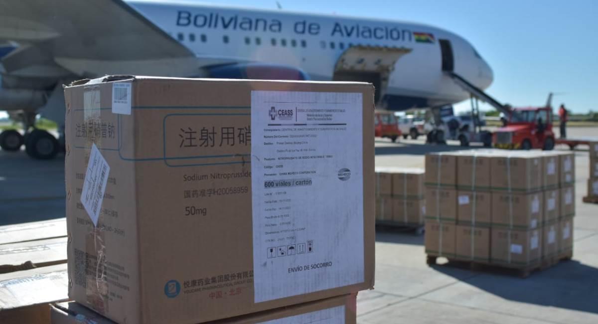 Bolivia recibió medicamentos desde China. Foto: ABI
