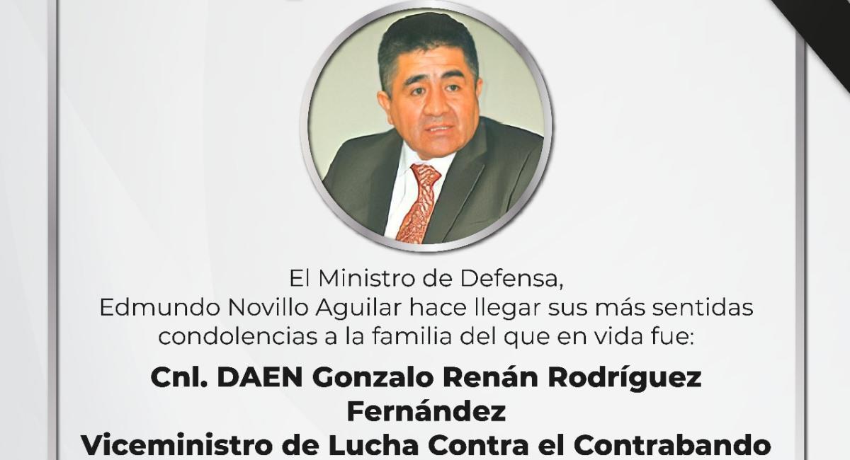 Comunicado del Ministerio de Defensa sobre la muerte del viceministro de Lucha Contra el Contrabando. Foto: ABI
