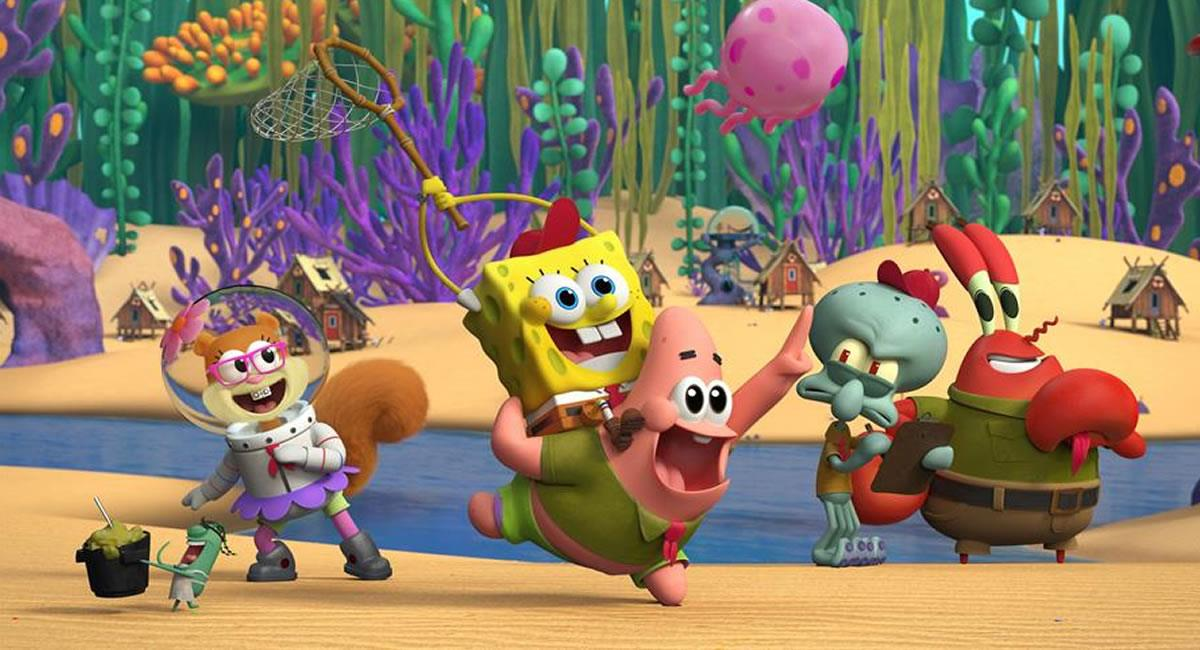 Sandy, Bob Esponja, Patricio, Calamardo y Don Cangrejo, durante una escena de 'Kamp Koral'. Foto: EFE
