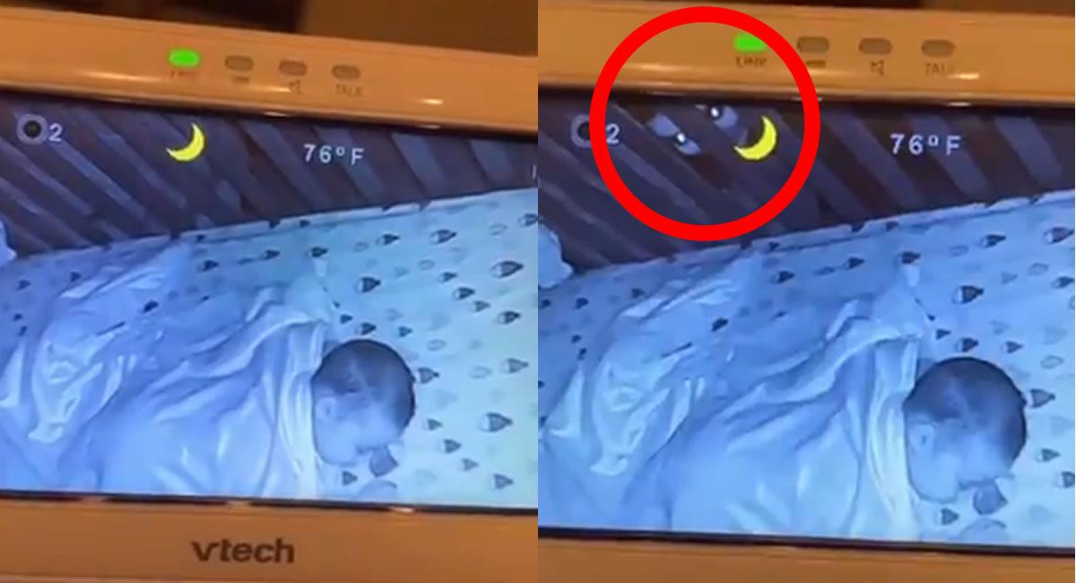 Momento en el que un supuesto fantasma espía a un bebé. Foto: Twitter @ErgoProxy95