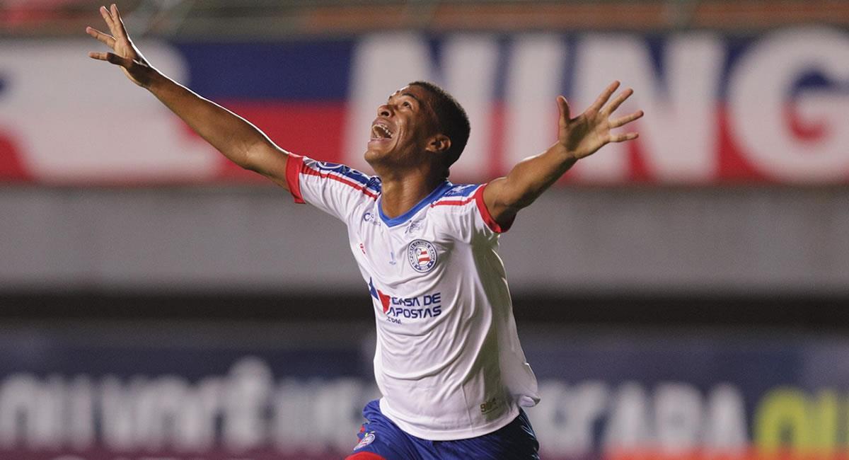 Marcelo Ryan Silvestre de Bahía, celebra un gol ante Guabirá. Foto: EFE
