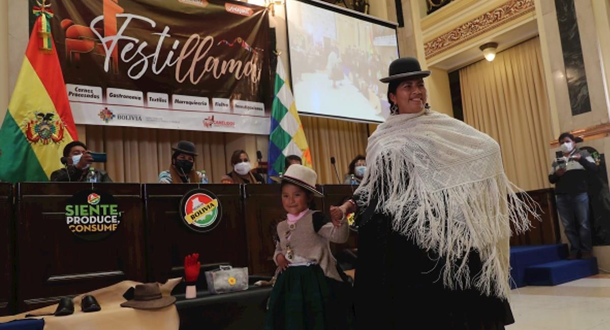 """El festival con desfile y exposición de productos a base de camélidos """"Festillama"""". Foto: EFE"""