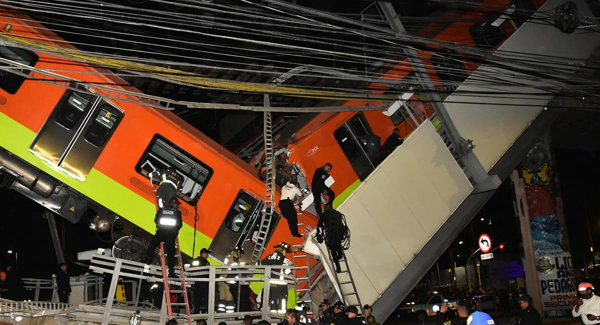 Grave accidente de un metro de la Ciudad de México. Foto: EFE