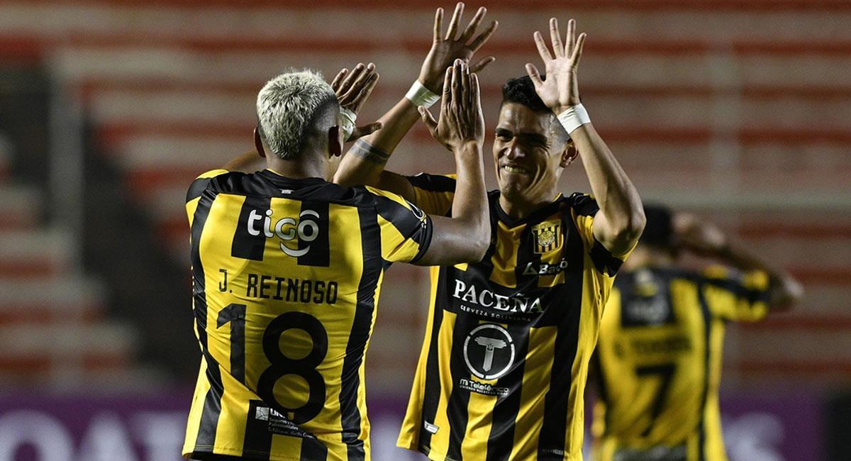 Jair Reinoso de The Strongest celebra un gol, en un partido de la Copa Libertadores. Foto: EFE