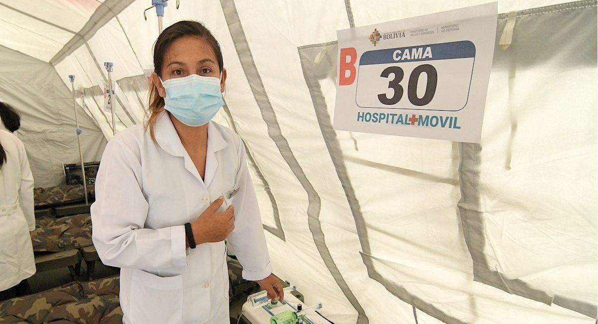 Hospital móvil entregado en Cochabamba. Foto: EFE
