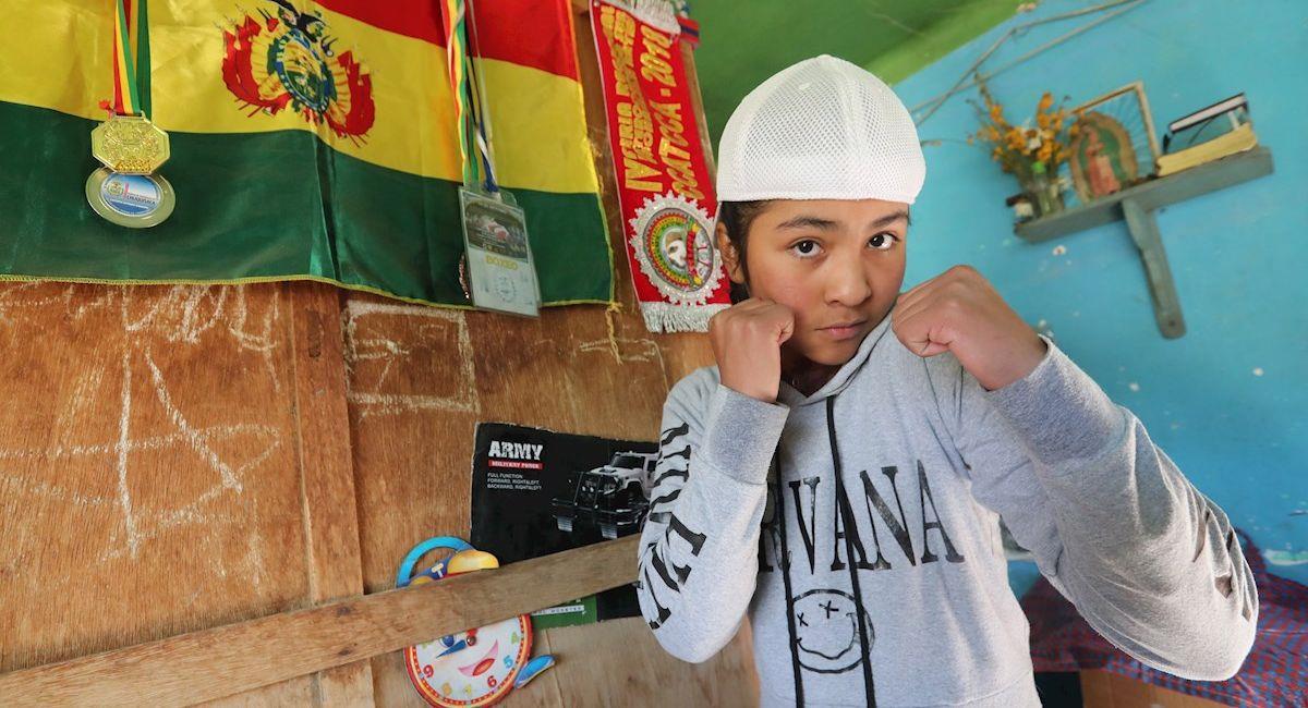 La boxeadora Gracce Flores, de 12 años. Foto: EFE