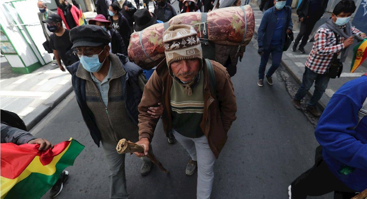 Gonzalo Melgar llegó a La Paz tras caminar casi mil kilómetros. Foto: EFE