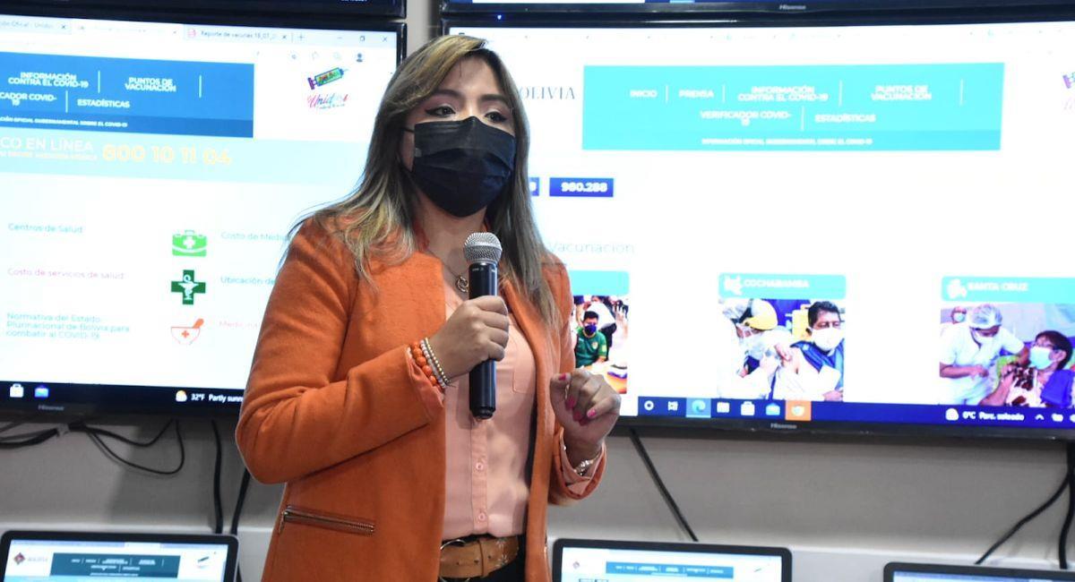 La viceministra de Comunicación, Gabriela Alcón. Foto: ABI