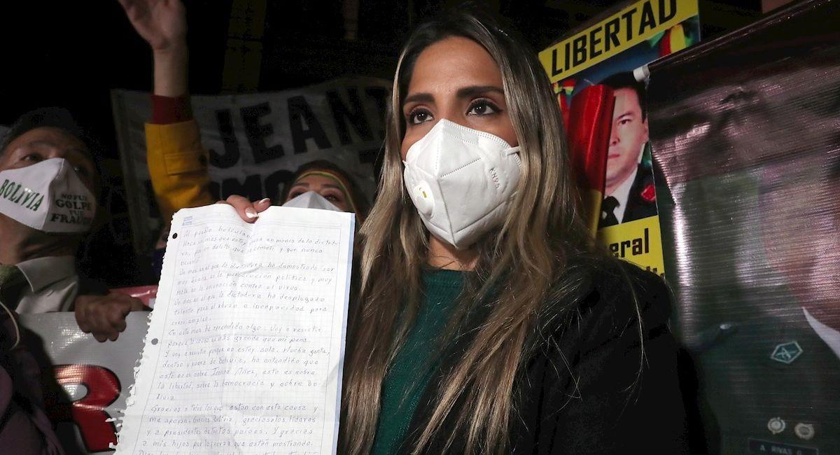 Carolina Ribera, hija de la expresidenta Jeanine Áñez. Foto: EFE