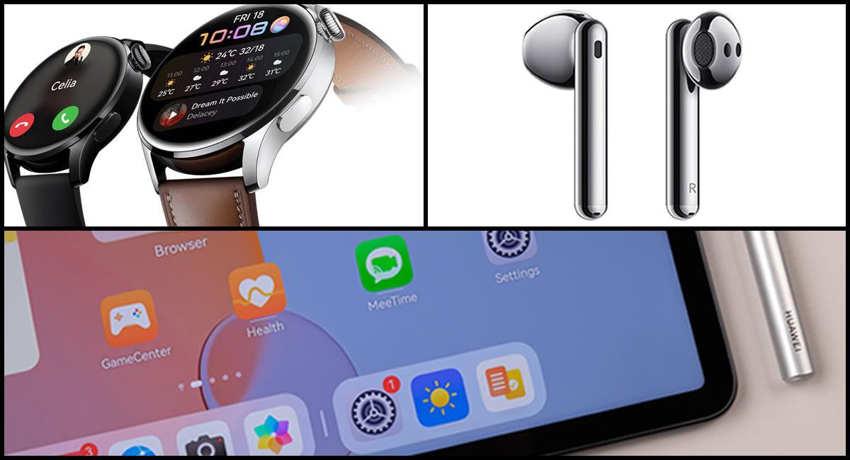 Watch 3, FreeBuds 4 y Huawei MatePad 11. Foto: Cortesía Huawei